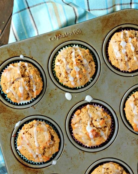 maple walnut oatmeal muffins maple glaze