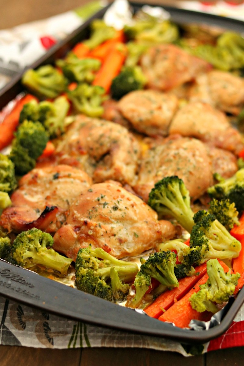 One Pan Honey Chicken Thighs & Vegetables