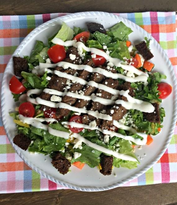 chopped sirloin steak salad feta cheese and pine nuts