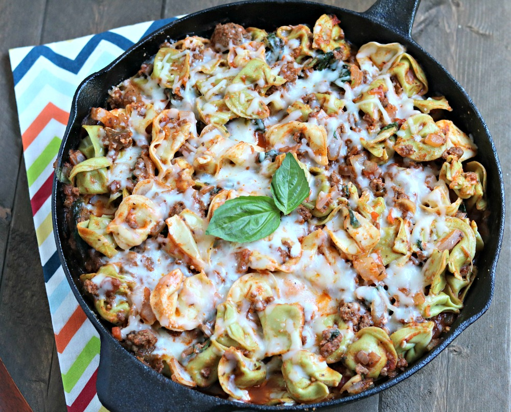Ground Beef & Spinach Tortellini Skillet