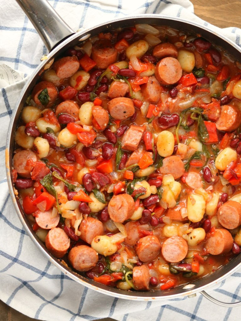 One Skillet Sausage Vegetable and Bean Gnocchi