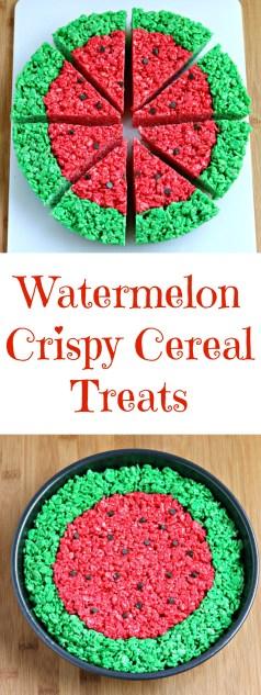 watermelon crispy cereal treats summer