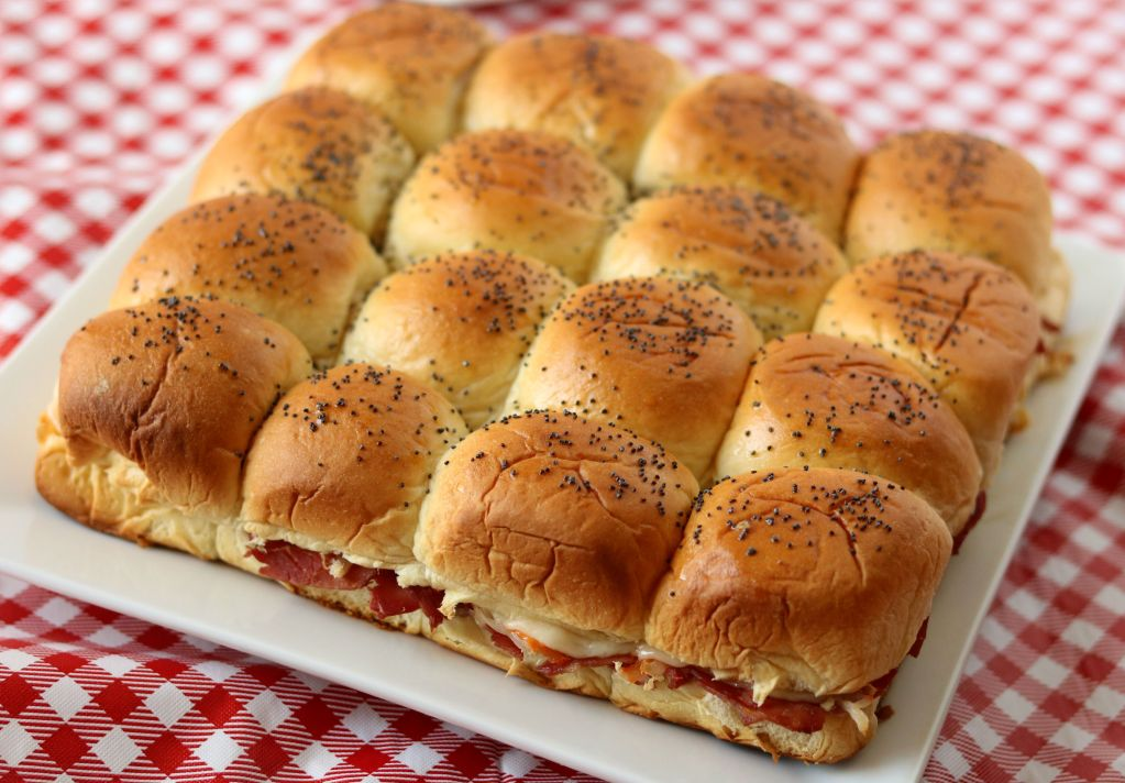 Baked Corned Beef and Swiss Hawaiian Sliders