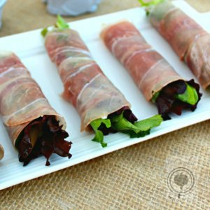 Prosciutto Wrapped Parmesan Pears & Greens