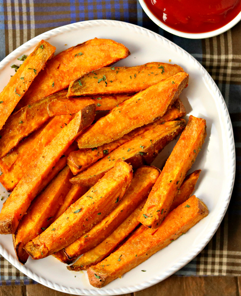 These Savory Baked Parmesan Sweet Potatoes Are The Perfect ...   Plain Baked Sweet Potato