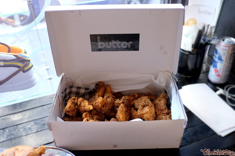 Box of size 13's fried chicken at Butter, Surry Hills