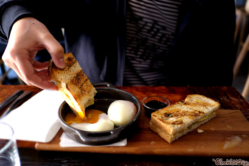 Kaya, butter slices, sourdough toast, 60 degree eggs at Hoost, Surry Hills