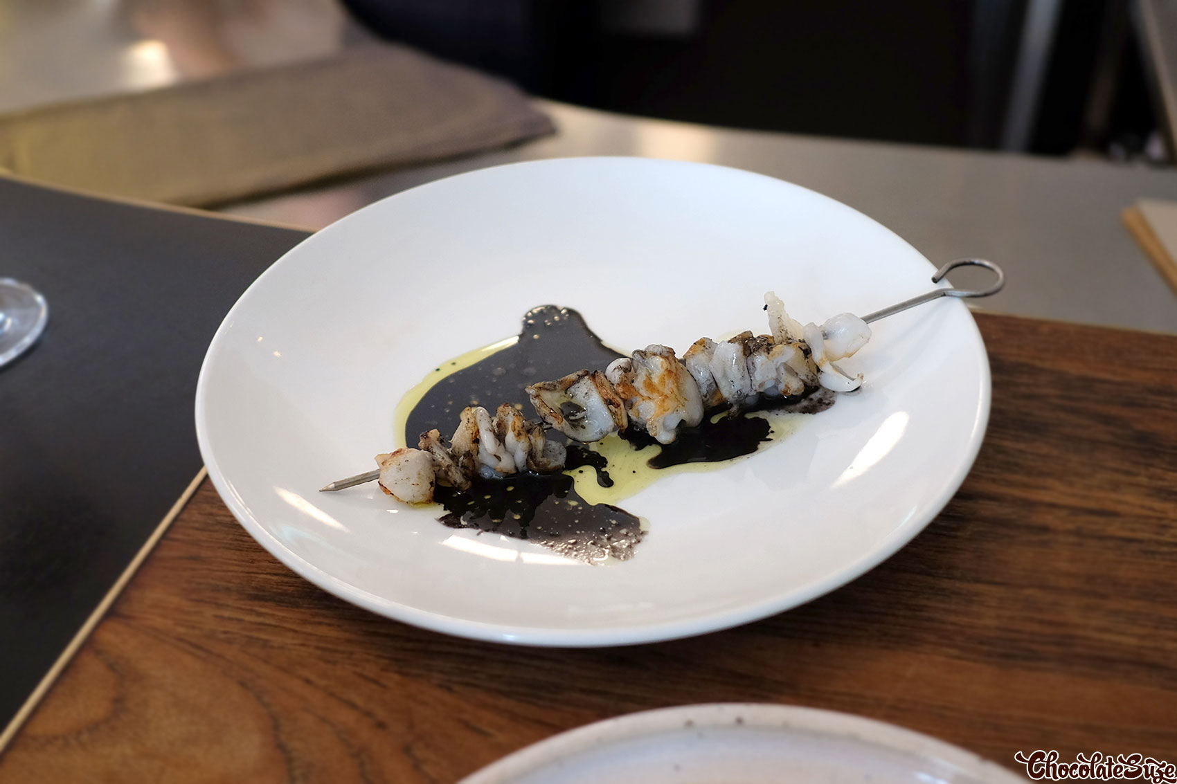 Calamari & lardo on a stick at Ester, Chippendale