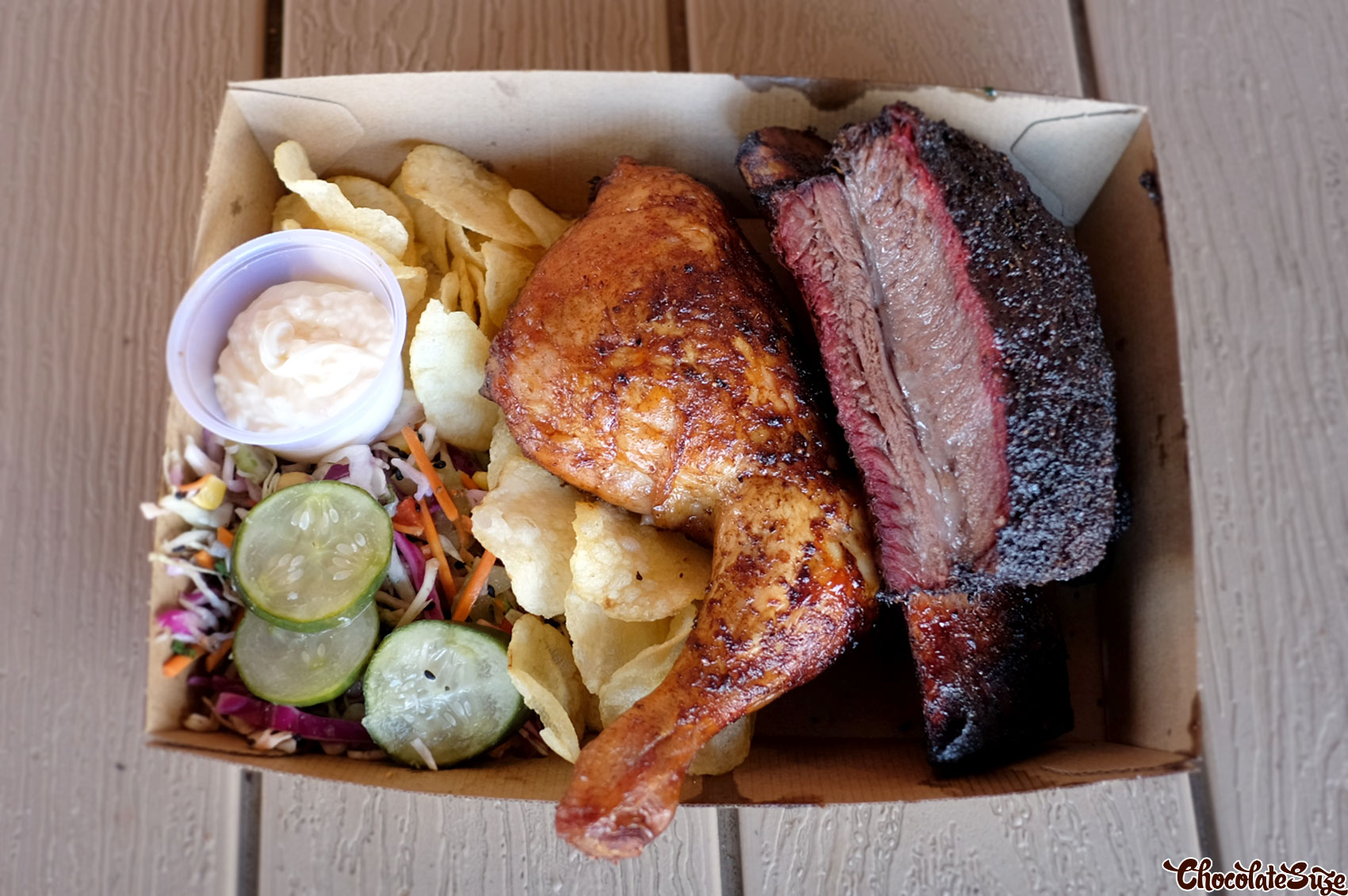 Beef short rib and smoked chicken at Black Bear BBQ, Blacktown