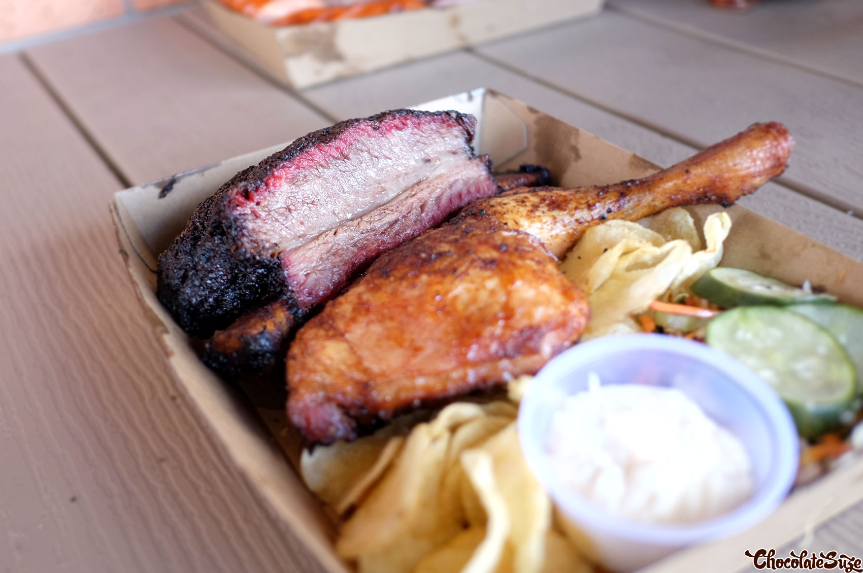 Beef short rib and smoked chicken at Black Bear BBQ, Blacktown