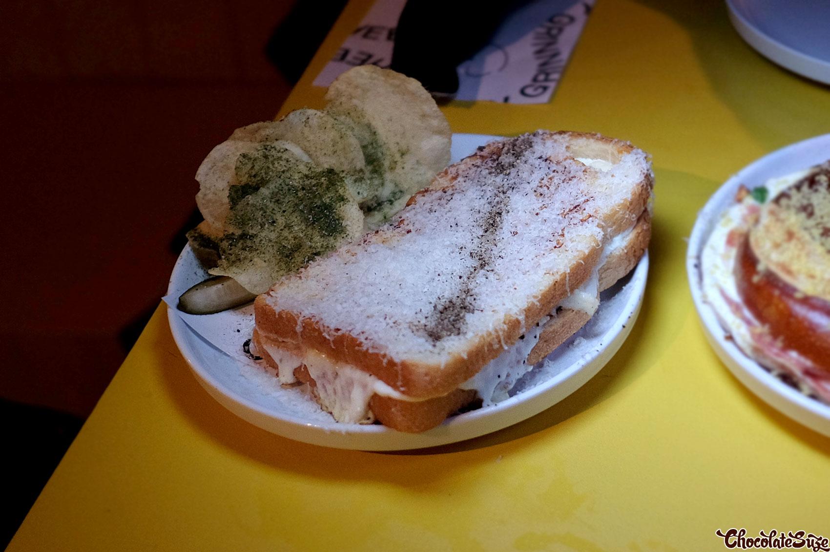 Cacio e pepe toastie at Cheesy Grin, Chippendale