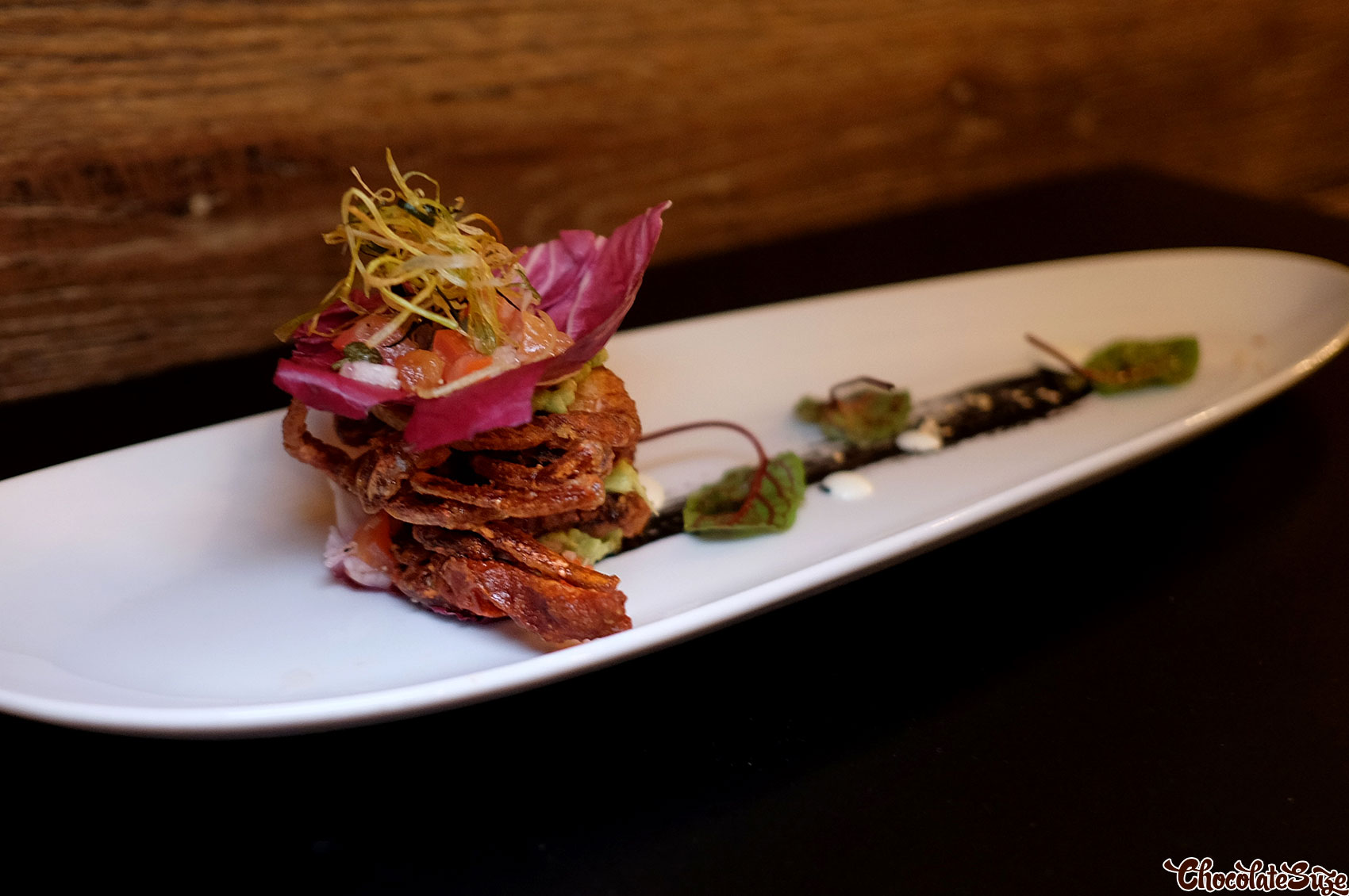 Spiced soft shell crab fritter at Eiju Fusion Japanese Dining, Pyrmont