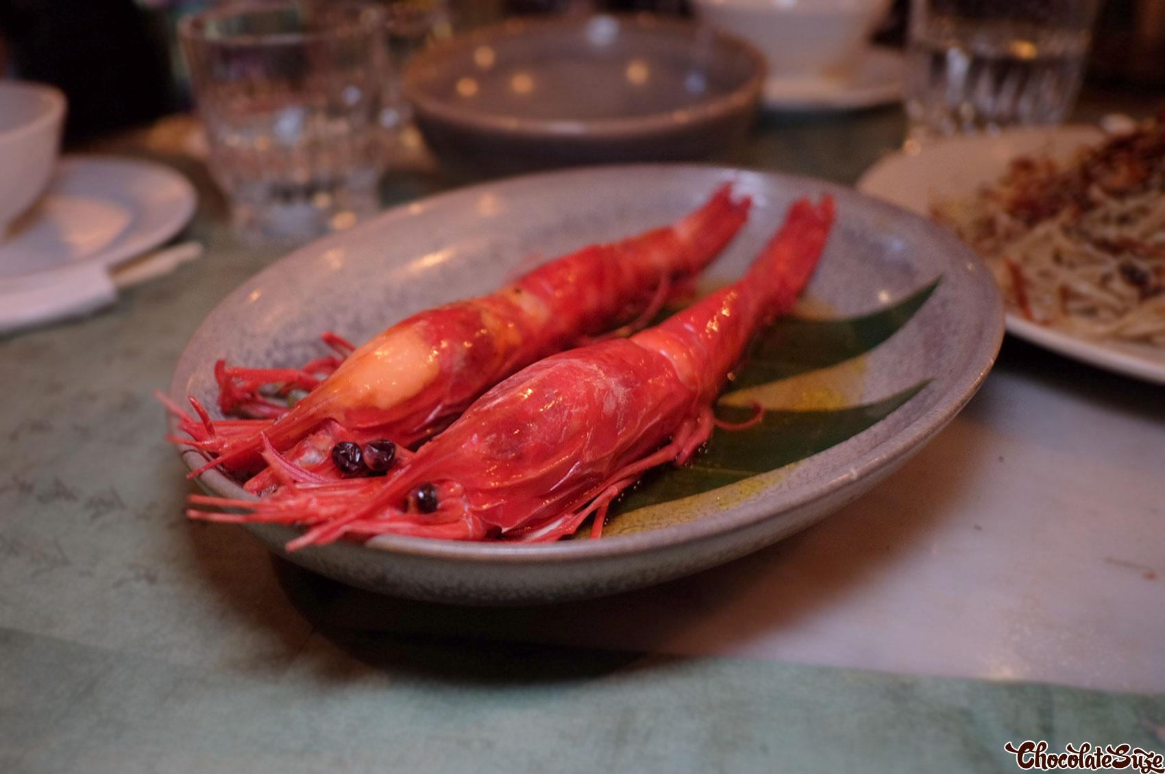 Scarlet prawns at Mr Wong, Sydney