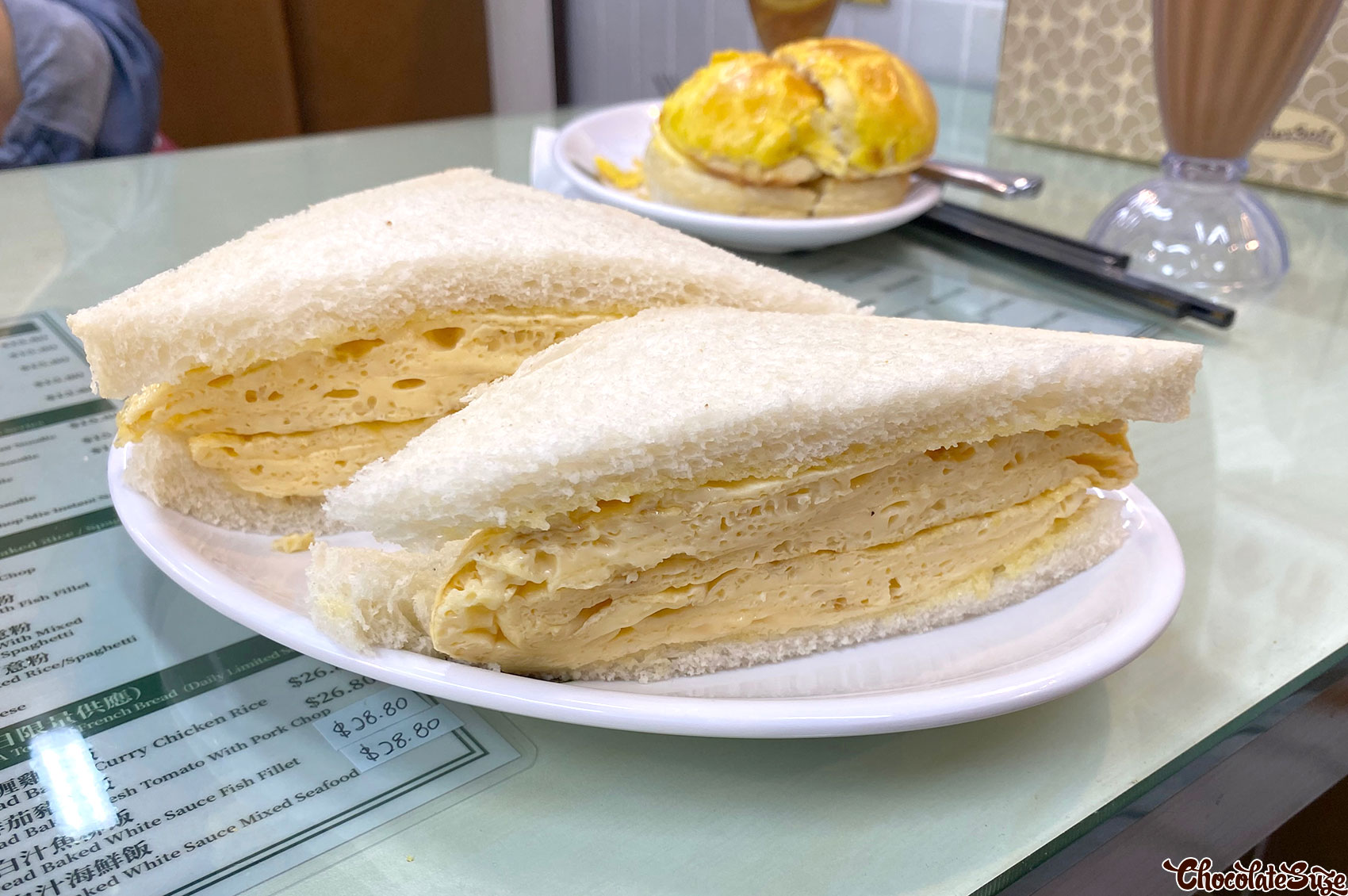 Super thick scrambled egg sandwich at Kowloon Cafe, Haymarket