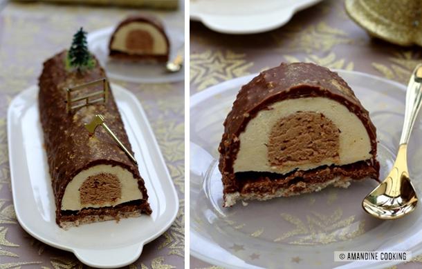 buche au praline noisettes et chocolat blanc