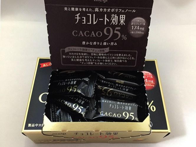 『明治』の「チョコレート効果カカオ95%」フタ裏にも苦みの記載あり