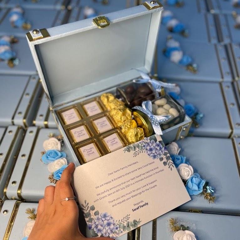 Wedding invitation hamper chocolate boxes