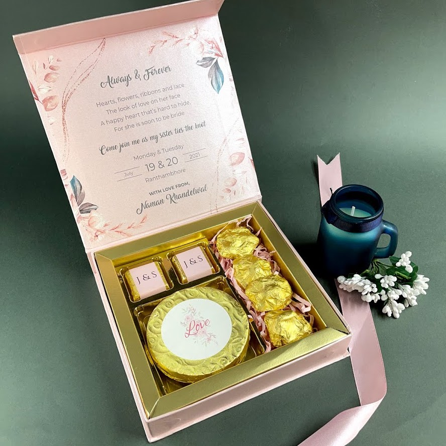 wedding invitations with chocolates