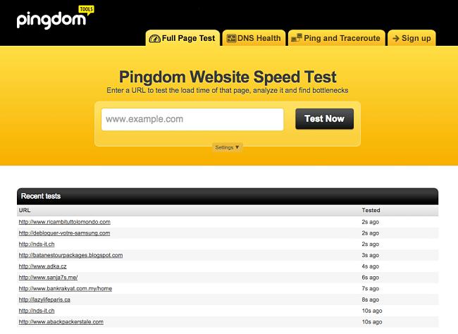 Pingdom Tools - rýchlosť webu