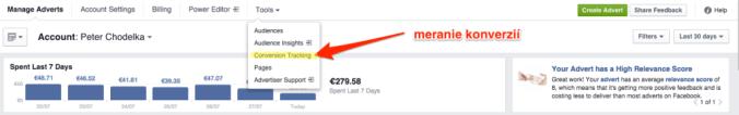 Meranie konverzií - Facebook