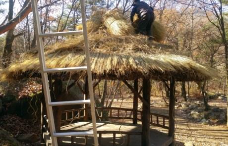 초가지붕시공 - 정자 초가지붕 이엉이기