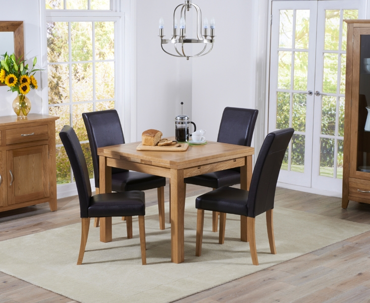 Mark Harris Cambridge Oak Square Extending Dining Table And 4 Atlanta Brown Faux Leather Chairs Cfs Furniture Uk