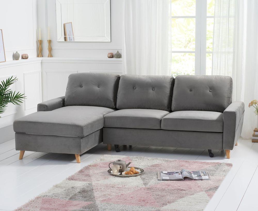 mark harris carlotta grey velvet left facing corner chaise sofa cfs furniture uk