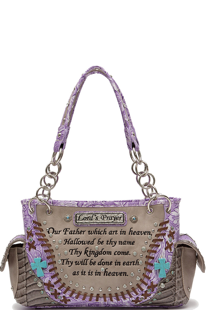 LOD8469Z Fuchsia Western Bible Verse Shoulder Bag