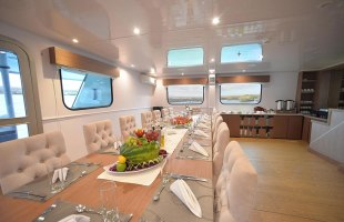 Dining area on Seaman Catamaran