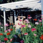 Flowers and children in the front garden