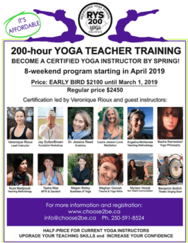 Spring 2019, 200 hours Yoga Teacher Training at VIU