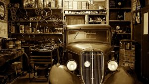 garage with a car