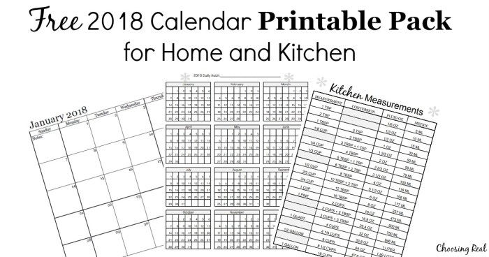 This 2018 Calendar Printable Pack includes 12 pages of 2018 monthly calendars, a 2018 habit tracker, and a kitchen measurement conversion chart.