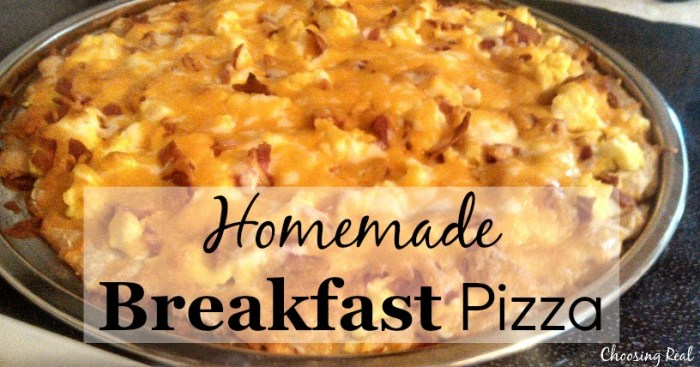 Breakfast and pizza go great together with this breakfast pizza recipe combining scrambled eggs, breakfast meats, and cream cheese on a whole wheat crust.