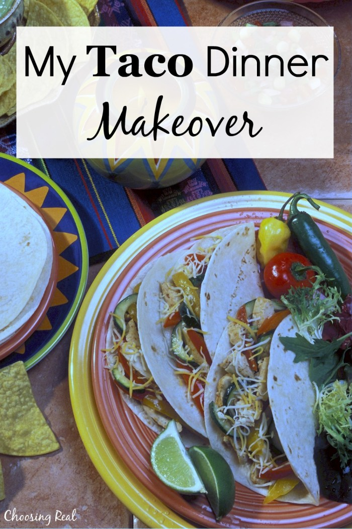 Over time I have modifiedour typical dinner to be much healthier withthis homemadetaco dinner makeover to reduce sodium.