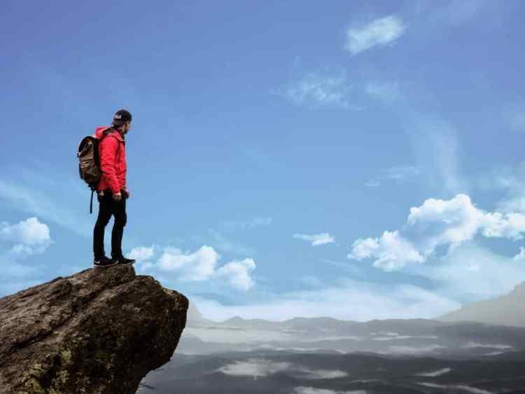 Wanders Hiker on mountain
