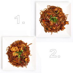Wok extra tésztával (garnélarák, csirke) - 2 személyes