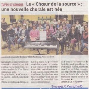 Article de presse de la chorale Le choeur de la Source