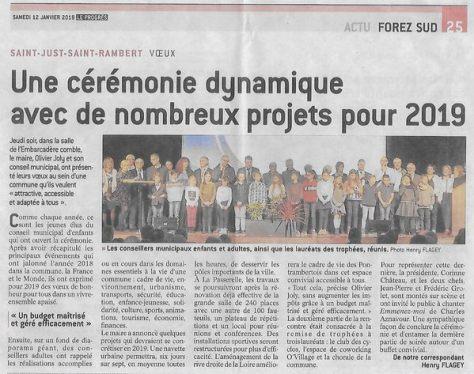 Le 10 janvier 2019, remise du Trophée de la vie associative à la Chorale de Saint-Just Saint-Rambert