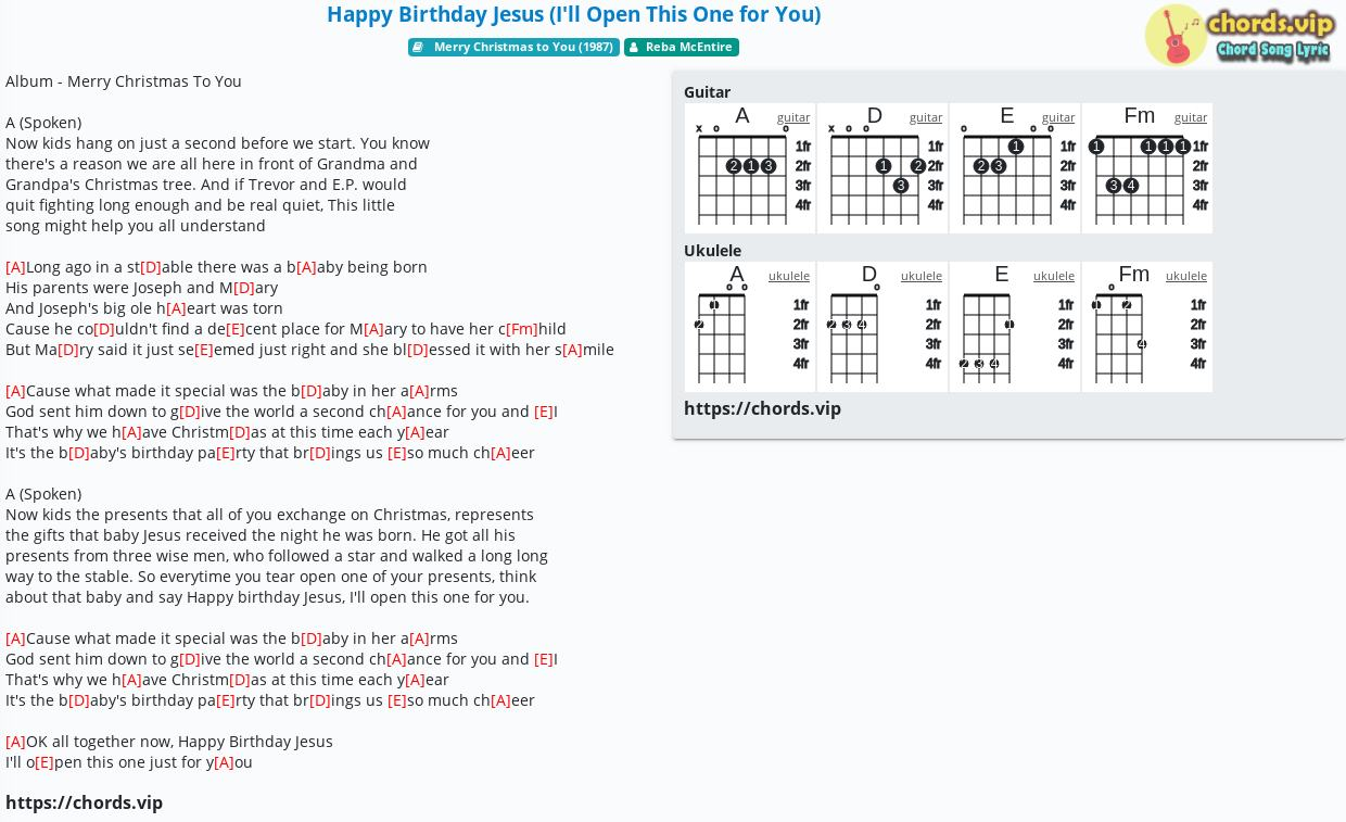 Chord Happy Birthday Jesus I Ll Open This One For You Reba Mcentire Tab Song Lyric Sheet Guitar Ukulele Chords Vip