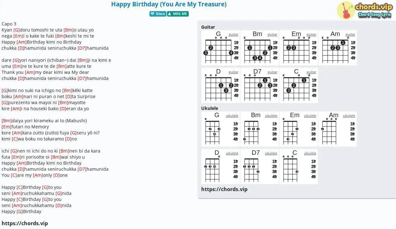 Chord Happy Birthday You Are My Treasure Meg Me Tab Song Lyric Sheet Guitar Ukulele Chords Vip