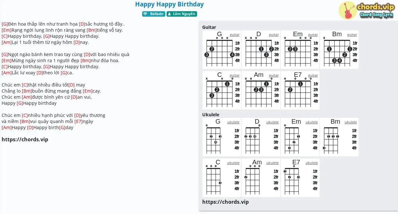 Chord Happy Happy Birthday Lam Nguyen Tab Song Lyric Sheet Guitar Ukulele Chords Vip