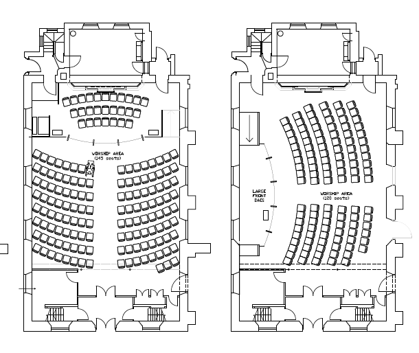 Possible seating plans for the refurbished church space