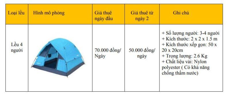 Bảng giá thuê lều 4 người