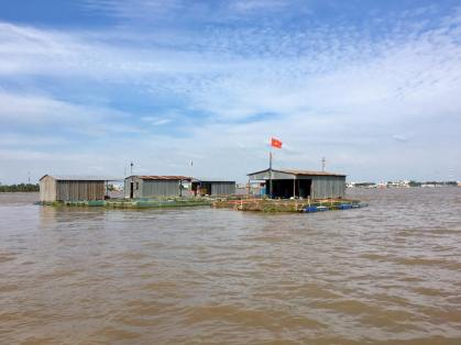 A little fish farm on the mekong.