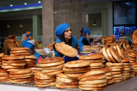 Bread Vendors at Green Bazaar Dushanbe
