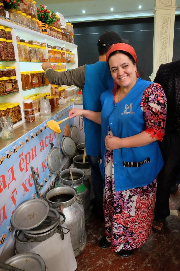 Honey vendor Green Bazaar Dushanbe