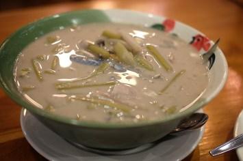 Mackerel with coconut milk soup.