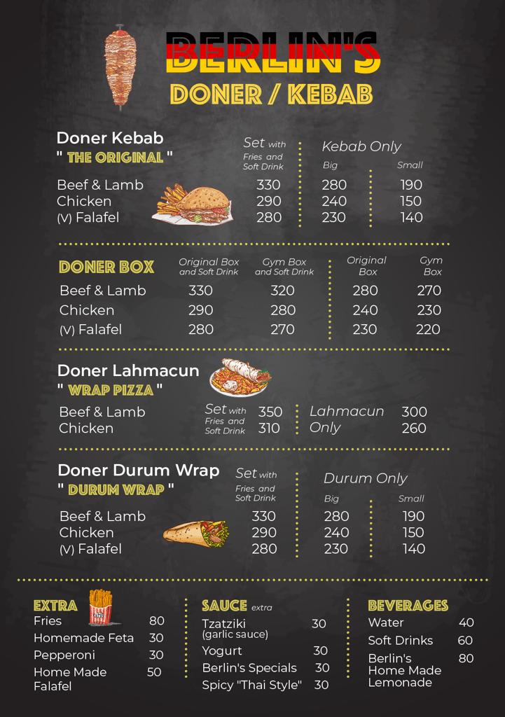 Berlin's Doner Kebab Thailand Menu