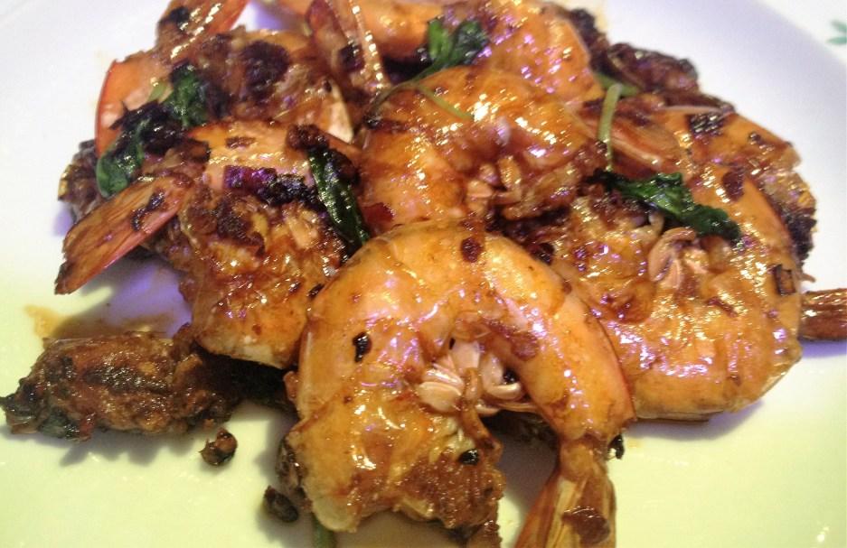 soya sauce king prawn